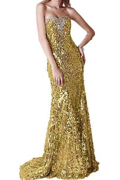 Gorgeous Novia brillantes lentejuelas largo escote corazón vestido de noche, vestido con tren dorado dorado