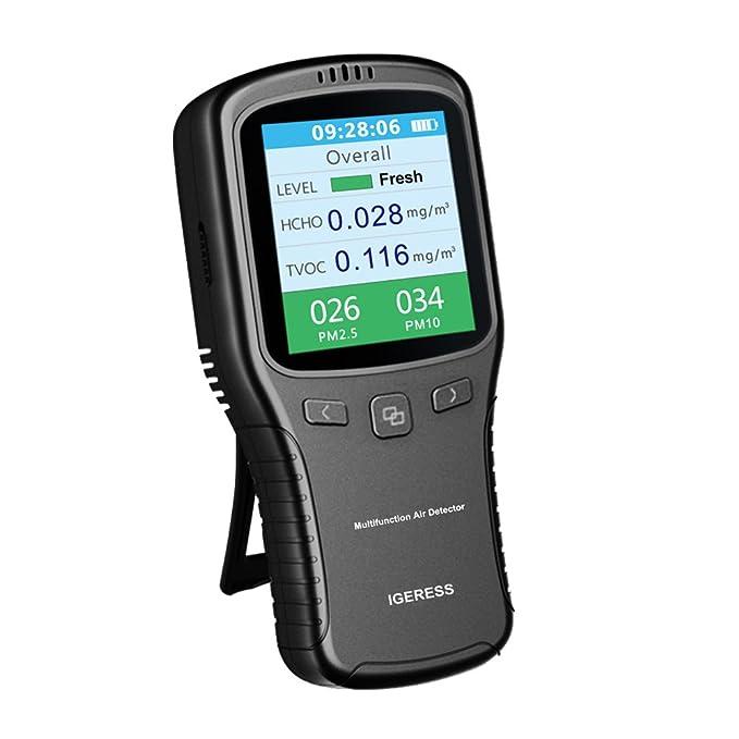 Igeress moniteur de qualité de l'air Intérieur formaldéhyde (Hcho) Détecteur de Pm2.5/PM10/Tvoc testeur de tests précis avec affichage de l'heure pour la maison de voiture en plein air d&eac