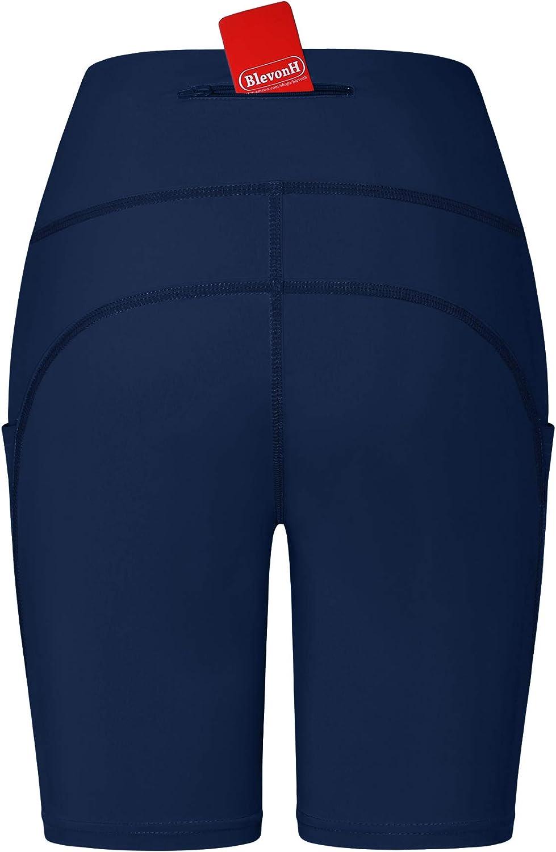 Blevonh Women Biker Shorts High Waist Compression Yoga/Short with Back Pocket
