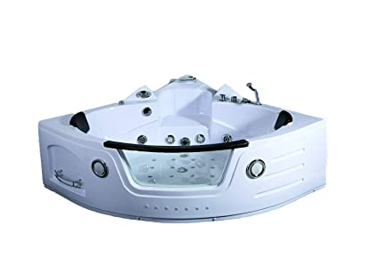 2 Person Whirlpool Massage Hydrotherapy White Corner Bathtub Tub With  BLUETOOTH, Remote Control, Inline