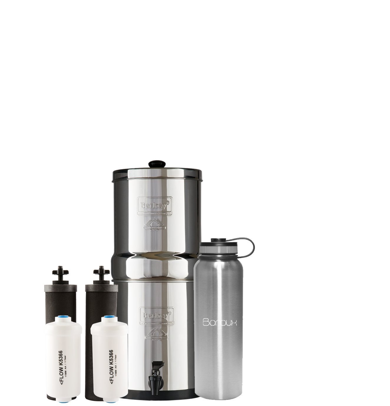 Boroux Bundle Travel Berkey Water Filter System includes Black Filters and Fluoride Filters (1.5 Gallon) bundled with 40 oz Stainless Steel Double Wall Bottle