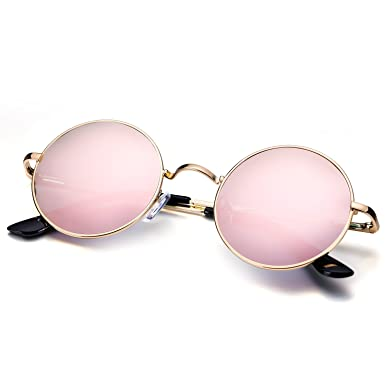 d7a4e9cf28 Menton Ezil Small Round Polarized Sunglasses Pink Mirrored Lens Glasses  with Metal Frame  Amazon.co.uk  Clothing