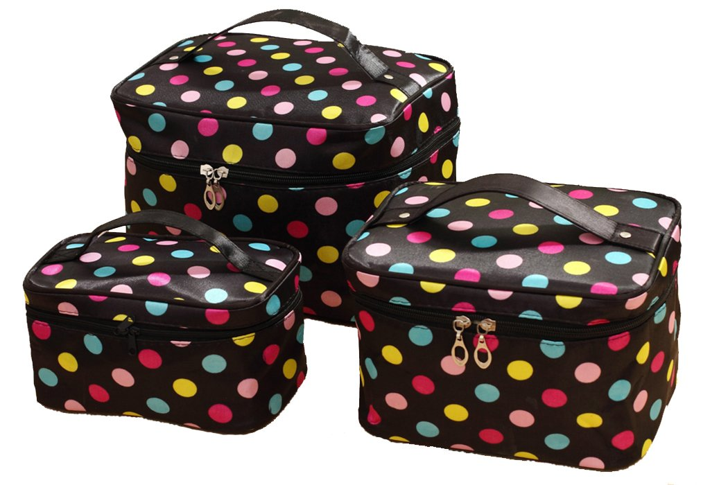 HOYOFO 3Pcs Makeup Bags for Women Polka Dot Travel Cosmetics and Toiletry Storage Bag with Brush Holders (3 Sizes/Set: S, M, L)