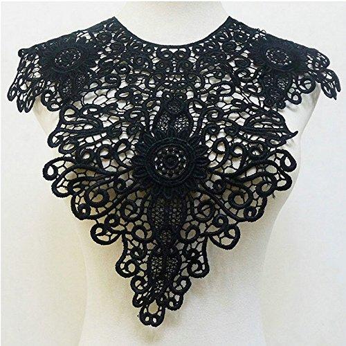 1 Pcs Super Black Lace Trim Applique Venise Flower Collar Fabric Lace Patches Neckline Sewing DIY