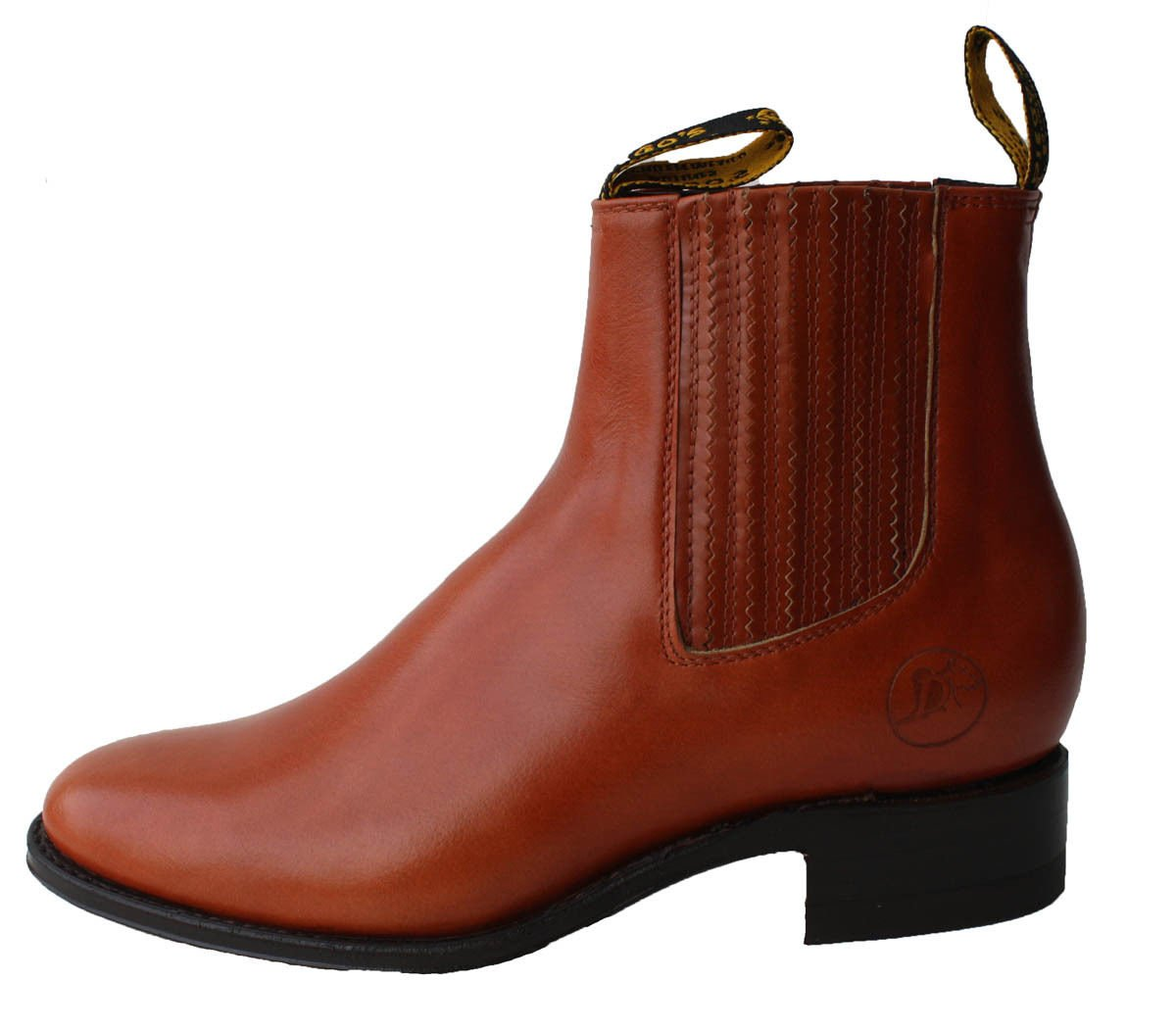 Dona Michi Men's Cowboy Genuine Smooth Cowhide Leather Short Ankle Western Rodeo Biker Boots_Tan_10
