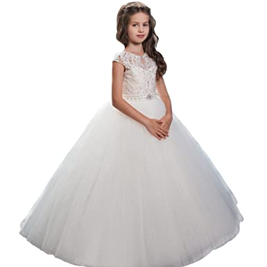 1959b03b2 Amazon.com: Dress White Tulle V-Back Girls First Communion Dresses 2017 New  1-12 Year Old: Clothing