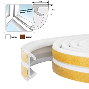 STEIGNER Gummidichtung P-Profil L/änge: 6 m selbstklebende Fensterdichtung T/ürdichtung Gummi Profil Farbe: Wei/ß
