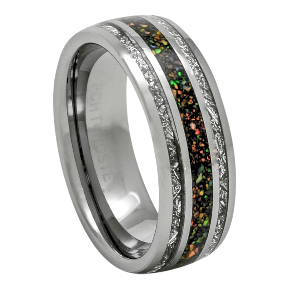 PCH Jewelers 8mm Tungsten Ring Created-Opal Imitated Meteorite Wedding Band 7-13 (11.5)
