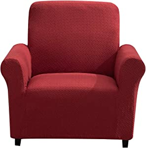 Home Queen Stretch Jacquard Sofa Covers, 1-Piece Non-Slip Stripes Couch Slipcover, Furniture Covers for Dogs, Kids, Pets (Chair, Burgundy)
