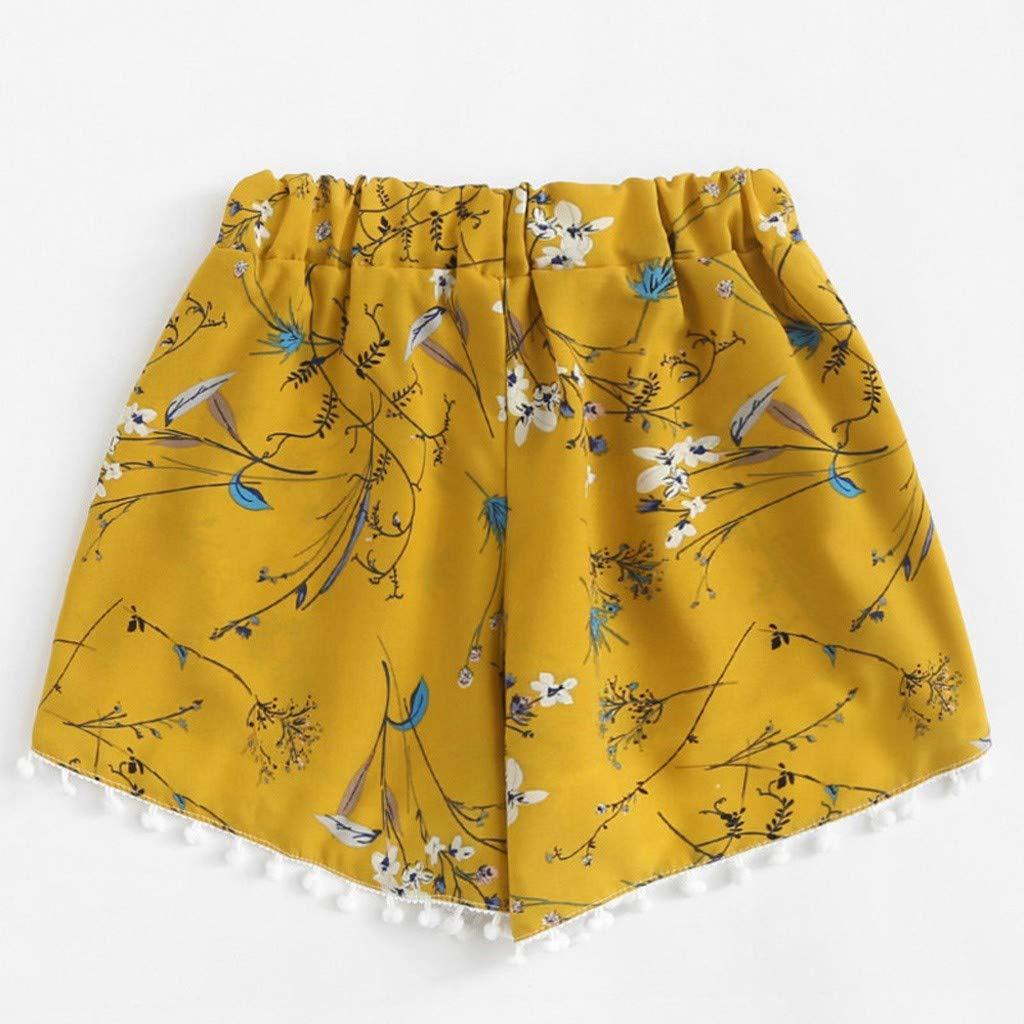 FarJing Clearance Sale Womens Pineapple Printing Mid Waist Loose Shorts Elastic Waist Shorts Pants