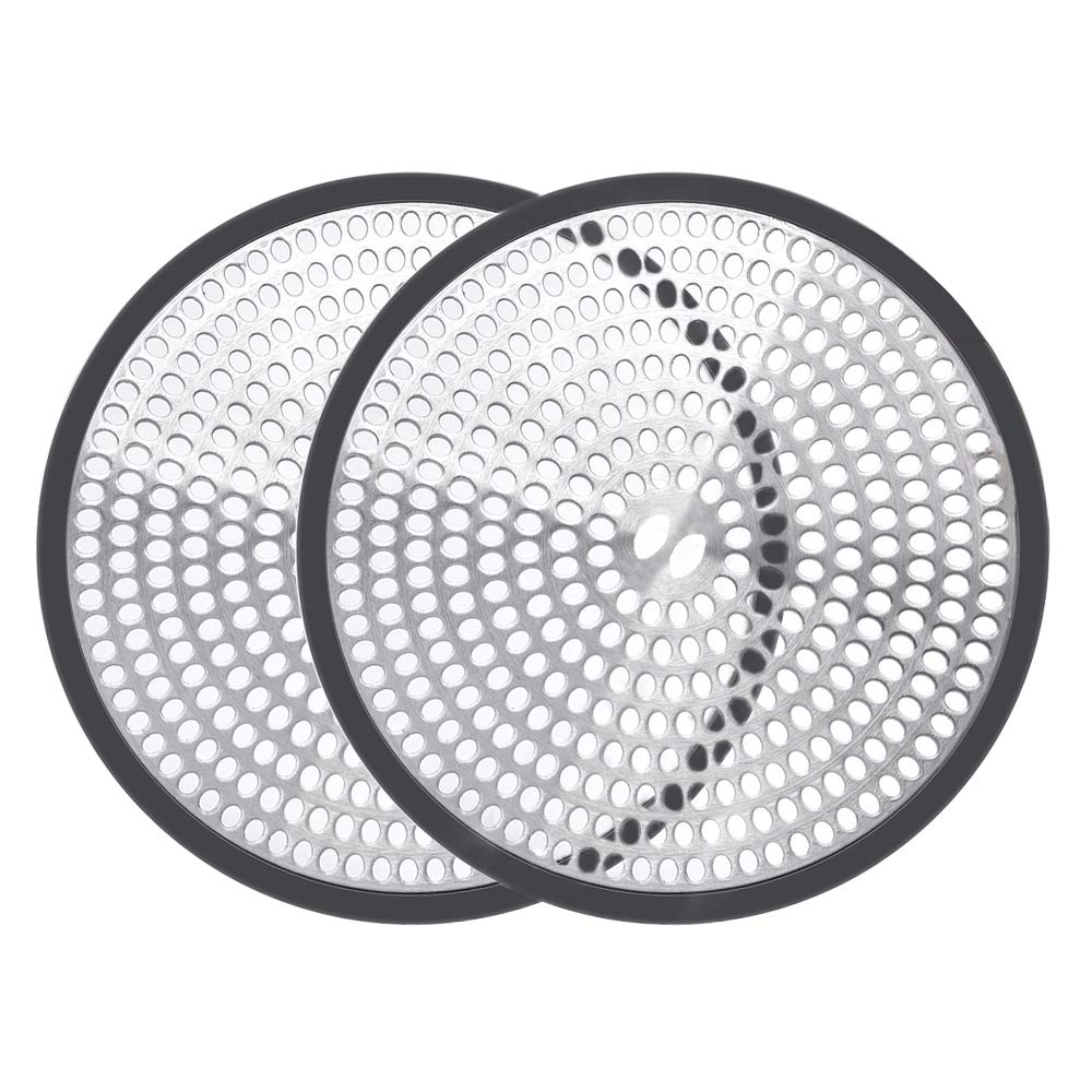 1 piece Shiwely Shower Drain Hair Catcher Trap Mesh Good Grips Easy Clean Drain Protector Stainless Steel /& Silicone Black