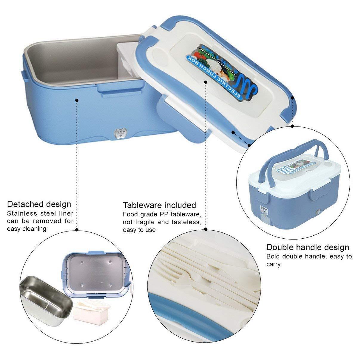 Caja de almuerzo, Caja de almuerzo de camión eléctrico Calentador eléctrico Calentador de agua eléctrico portátil de 35 vatios para el conductor del camión ...