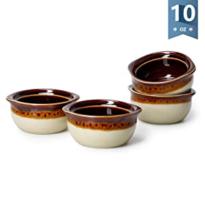 Sweese 1316 Porcelain French Onion Soup Crocks Bowls - 10 Ounce (Top to The Rim) for Soup, Stew, Chill, Set of 4
