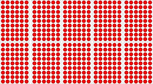 Akachafactory Lot gommettes Autocollantes 540 Rondes Rouge 1,5cm Carte Scrapbooking