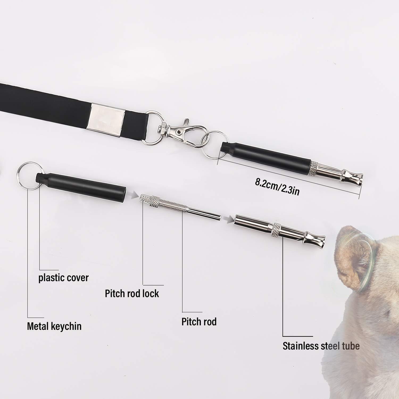Silbato Ultrasonidos de Perros con 2 Cuerdas LUTER 2 Piezas Silbato de Perro Negro Ajustables para Entrenamiento de Perros y Control de Descortezos