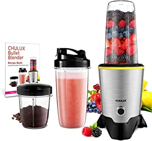 CHULUX Smoothie Bullet Blender Maker with Recipe Book, 1000W High Speed Coffee Grinder with Blending & Grinding Blades , Low Noise, Tritan 32+15 OZ Travel Bottles for Frozen Fruit, Baby Food, Spices