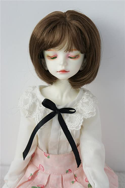 """7-8/"""" Long Curly Doll Hair 1//4 BJD Doll Wig Synthetic Mohair Doll Wigs Red Brown"""