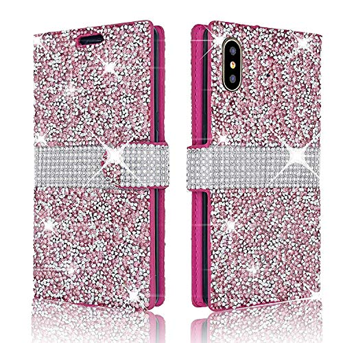 Glitter Flip Wallet Case for iPhone XR, Folio Kickstand with Wristlet Lanyard Shiny Sparkle Bling Luxury Cute Girl Women Card Slots Cover for Apple iPhoneXR (Pink)