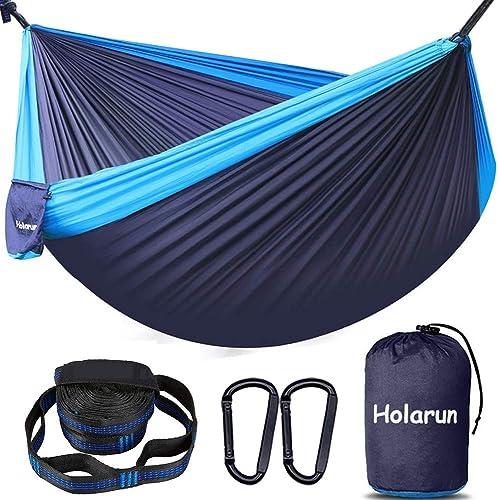 Holarun Hammock, Double Camping Hammock for 2 Adult Lightweight Parachute Hammock with Tree Straps 8 1 Loops Carabiners, Portable Nylon Hammock for Kid, Backpacking, Hiking, Yard Garden, Travel