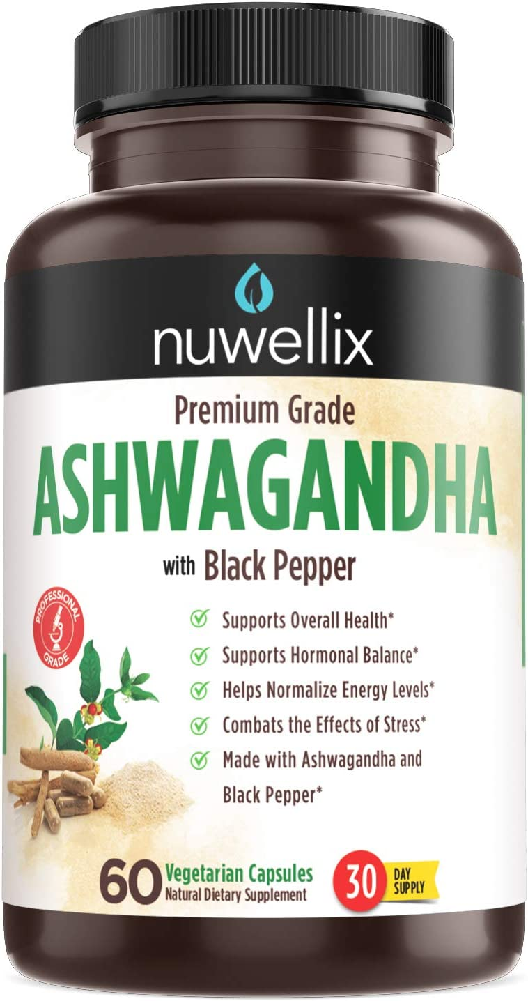 Nuwellix Ashwagandha Capsules with Black Pepper Extract - 1300mg, Natural Ashwagandha Supplement Supports Anxiety and Stress Relief - Promotes Energy Level - 60 Vegetarian Capsules