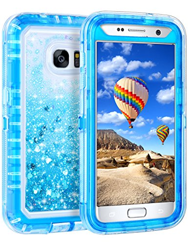Samsung Galaxy S7 Case, Coolden Luxury Floating Glitter Case Sparkle Bling Quicksand Liquid Cover Clear Shockproof Bumper Dual Layer Anti-Drop PC Frame + TPU Back for Samsung Galaxy S7, Blue