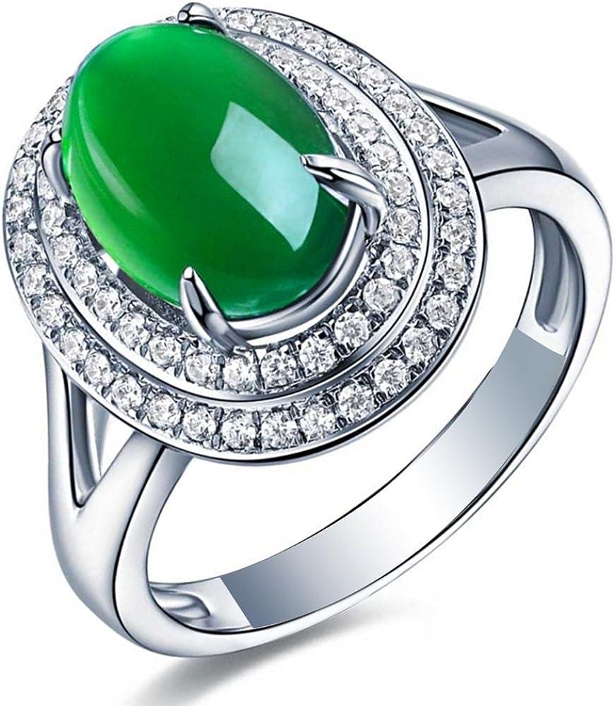 Precioso Moda Verde Calcedonia Piedra preciosa Circonita Sólido 925 Plata esterlina Oro blanco Plated Boda Promesa Compromiso Anillo Conjuntos para Mujer