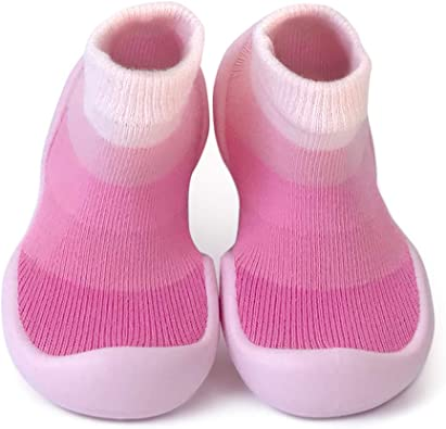 Step Ons Rubber Sole Sock Baby Shoes for Crawling Cruising and Walking!