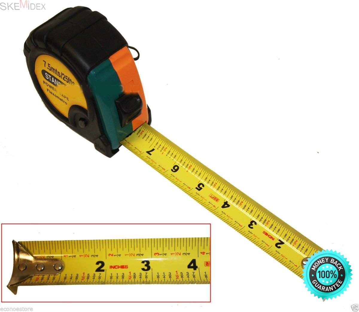 SKEMiDEX---25 Ft STANDARD POWERTAPE FLEXOMETRO MEASURING TAPE BLACK RUBBERIZED COVER 25'. HAS LOCKING BUTTON TO HOLD METAL RULER IN PLACE. STRAP FOR EASY CARRYING/HOOKING ONTO A BELT/LATCH