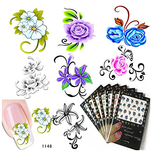 7 Pack Flower Nail Art Stickers Decals Water Slide Sticker Decal UV Gel Nail Decorations Fingernail Accessories