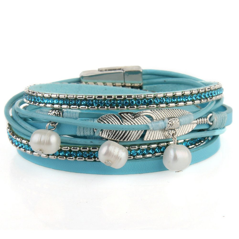 Jenia Casual Women Leather Bracelet Feather Wrap Cuff Bangle with Pearl Magnetic Clasp