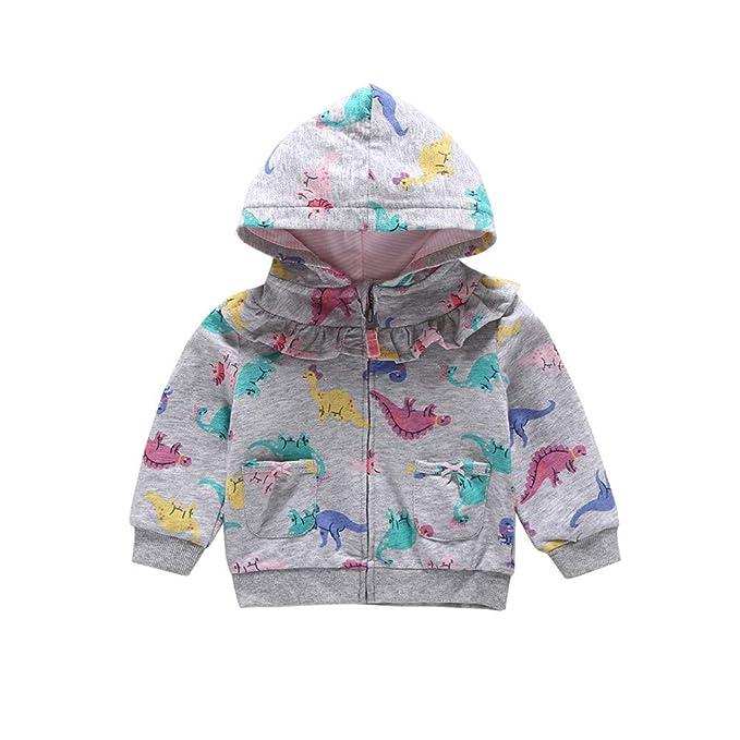 Mitlfuny Invierno Otoño Niñas Niños Bebés Chaqueta de Manga Larga Algodón Abrigo con Capucha Dinosaurio Dibujos