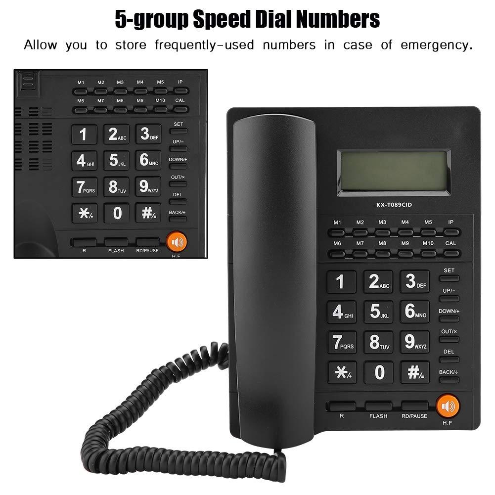 Eboxer 5-Gruppen-Kurzwahl-Desktop-Schnurgebundene Telefondaten-Berechnung Schnurgebundenes Telefon mit Freisprecheinrichtung f/ür Haus,B/üro,Hotel usw. Wei/ß