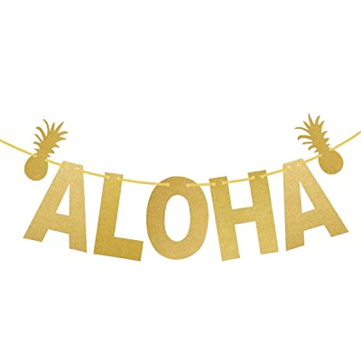 LUOEM Hawaiian ALOHA Banner Garland Long Pineapple Glitter Pendant Luau Theme Party Signs Decoration (Gold)
