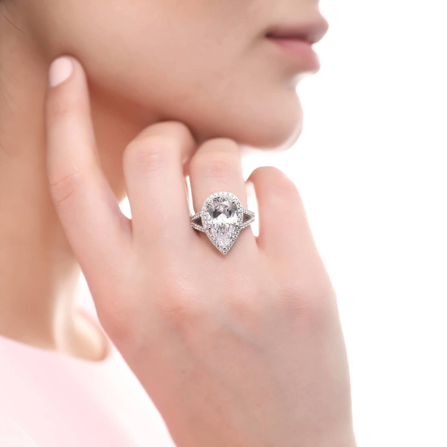 BERRICLE Rhodium Plated Sterling Silver Pear Cut Cubic Zirconia CZ ...