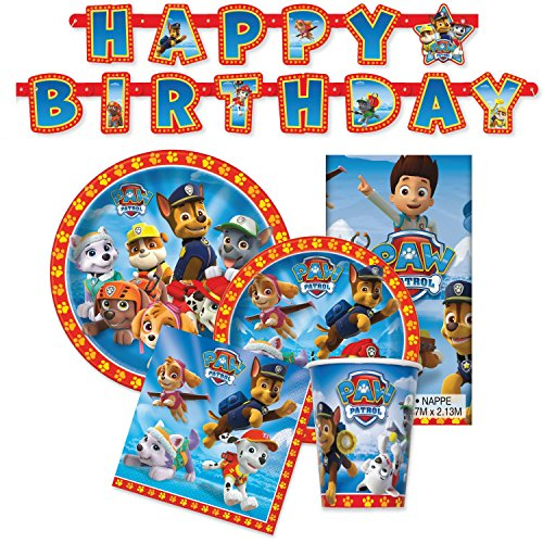 Paw Patrol Birthday Party Supplies - Tableware for 16 Guests + Decorations (Original Version) -