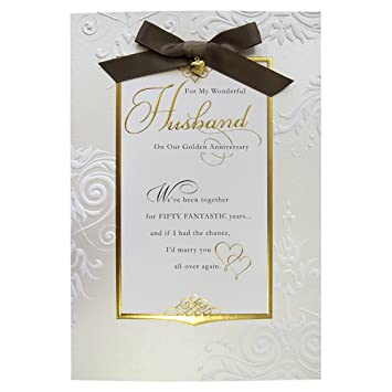 hallmark 50th golden anniversary husband traditional embossed card