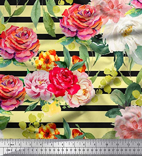 Yellow Cotton Duck - Soimoi Yellow Cotton Duck Fabric Stripe & Grandiflora Roses Floral Fabric Prints by Yard 56 Inch Wide