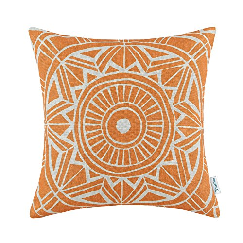 - CaliTime Canvas Throw Pillow Cover Case for Couch Sofa Home Decoration Modern Compass Geometric 18 X 18 inches Sun Orange