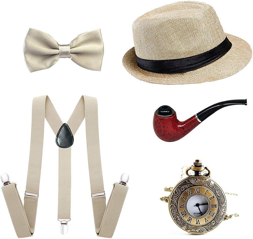 5PCS Mens 1920s Accessories Gangster Costume Men Set Y-Back Suspender Bow Tie Cigar Hat Pocket Watch 61eEzUXejPL