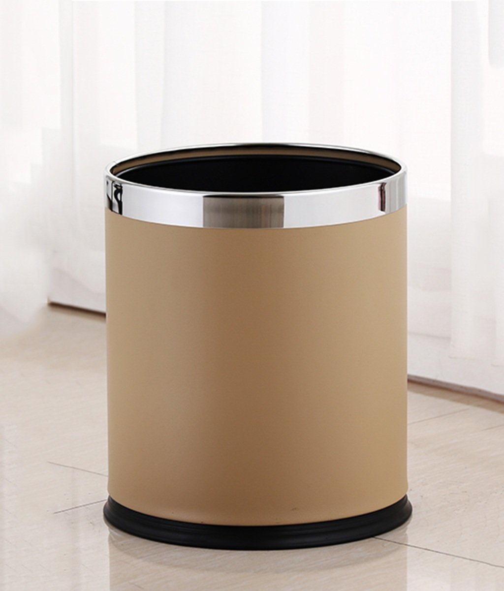 CSQ Bedroom Trash Can, Double Layer Creative Household Without Cover Metal Trash Can Leather KTV Fire Retardant Hotel Upscale Hotel Trash Can 10L (Color : Yellow)