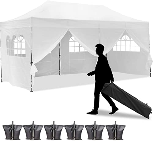 GDY 10×20 Feet Pop Up Outdoor Canopy Tent, Commercial Instant Gazebos, Portable Party Canopies with Removable Walls White, 6 Sidewalls Upgrade