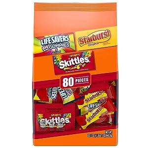 SKITTLES, STARBURST & LIFE SAVERS Christmas Candy Fun Size Variety Mix, 22.7 oz. 80 Pieces