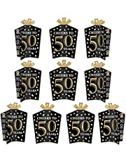 Big Dot of Happiness Adult 50th Birthday - Gold - Table Decorations - Birthday Party Fold and Flare Centerpieces - 10 Count