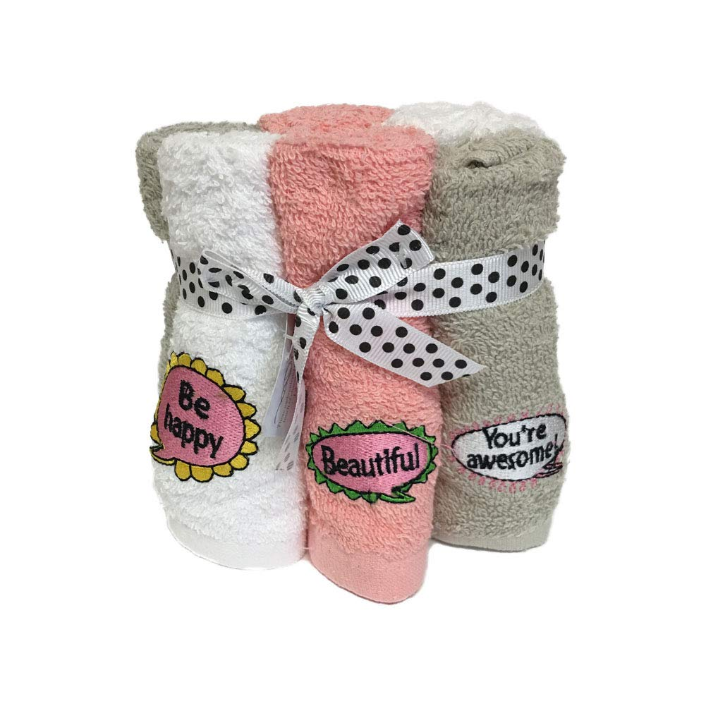 Bath Solutions Inc Decorative Fingertip Hand Towels washcloths Set of 6 Word Saying Embroidery