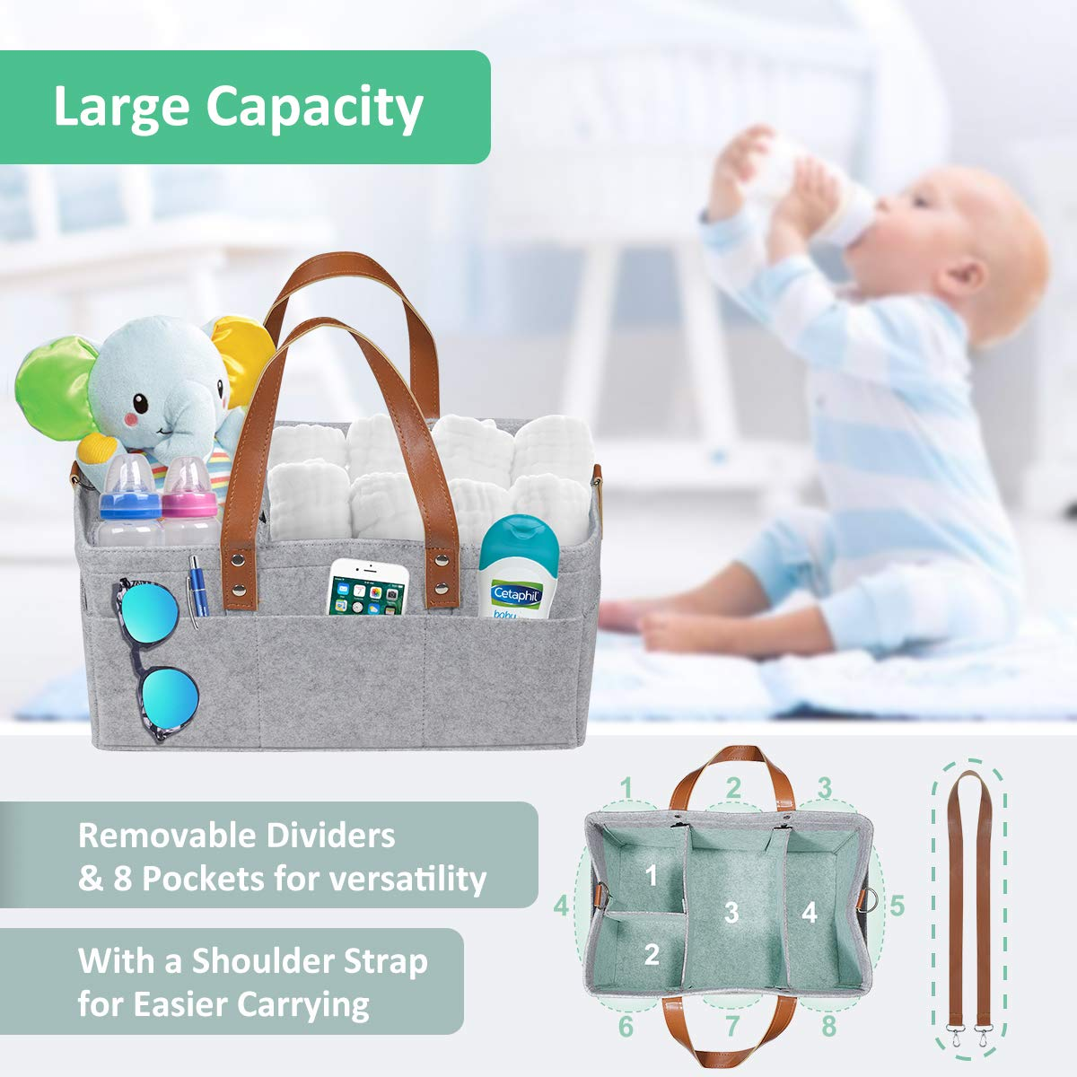 Baby Basket For Boys Girls AlroamGn Baby Diaper Caddy Organizer with Muslin Burp Cloths Large Portable Travel Car Organizer Nursery Storage Bin