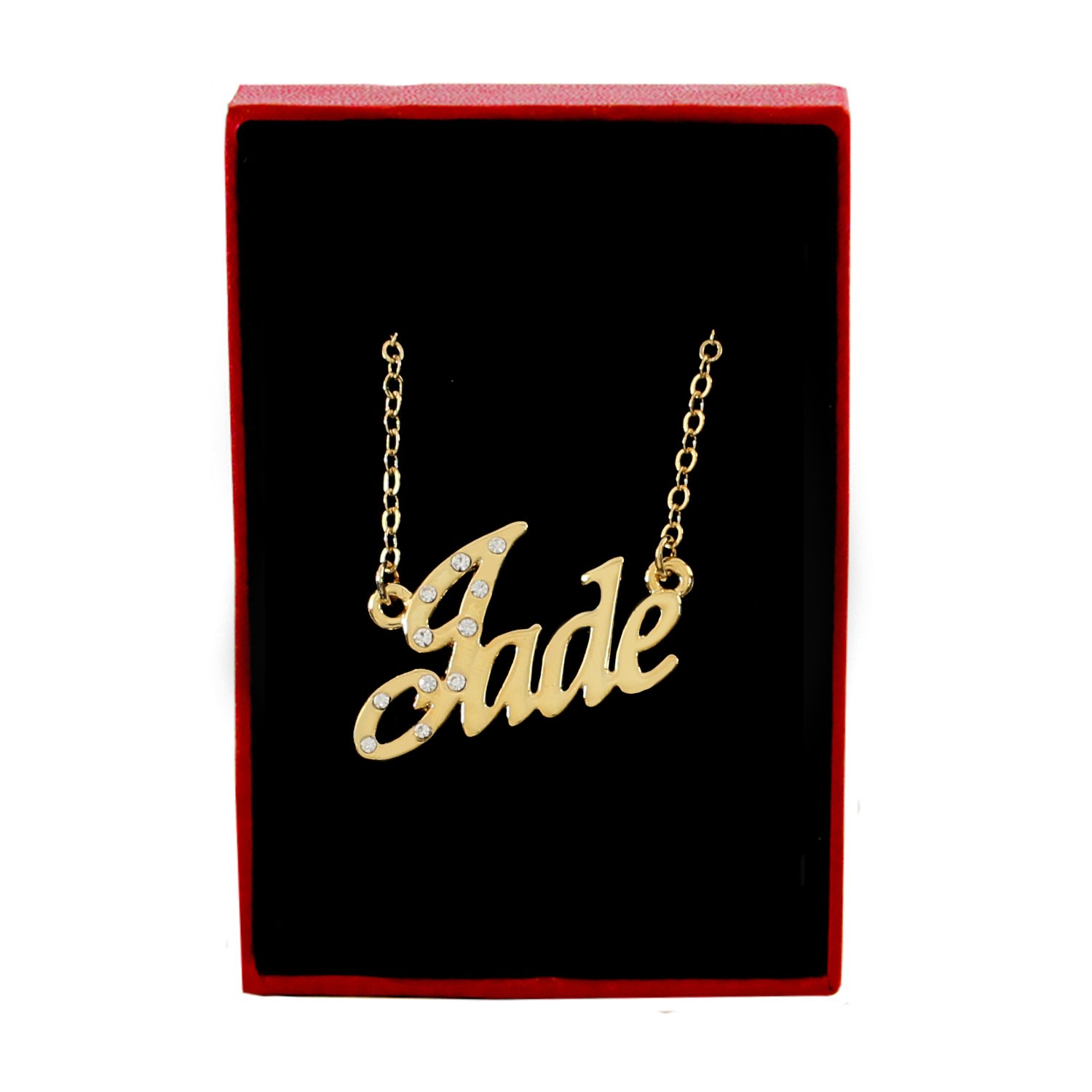 Name Necklaces Jade Belcher Chain 2mm Thick Personalized Necklace Gold Plated 18K