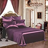 THXSILK Silk Sheet Set 4 Pcs, 19 Momme Silk Bed Sheets with Fine Embroidery, Luxury Bedding Sets -Ultra Soft, hypoallergenic, Durable-100% Top Grade Mulberry Silk, Queen Size, Dark Magenta