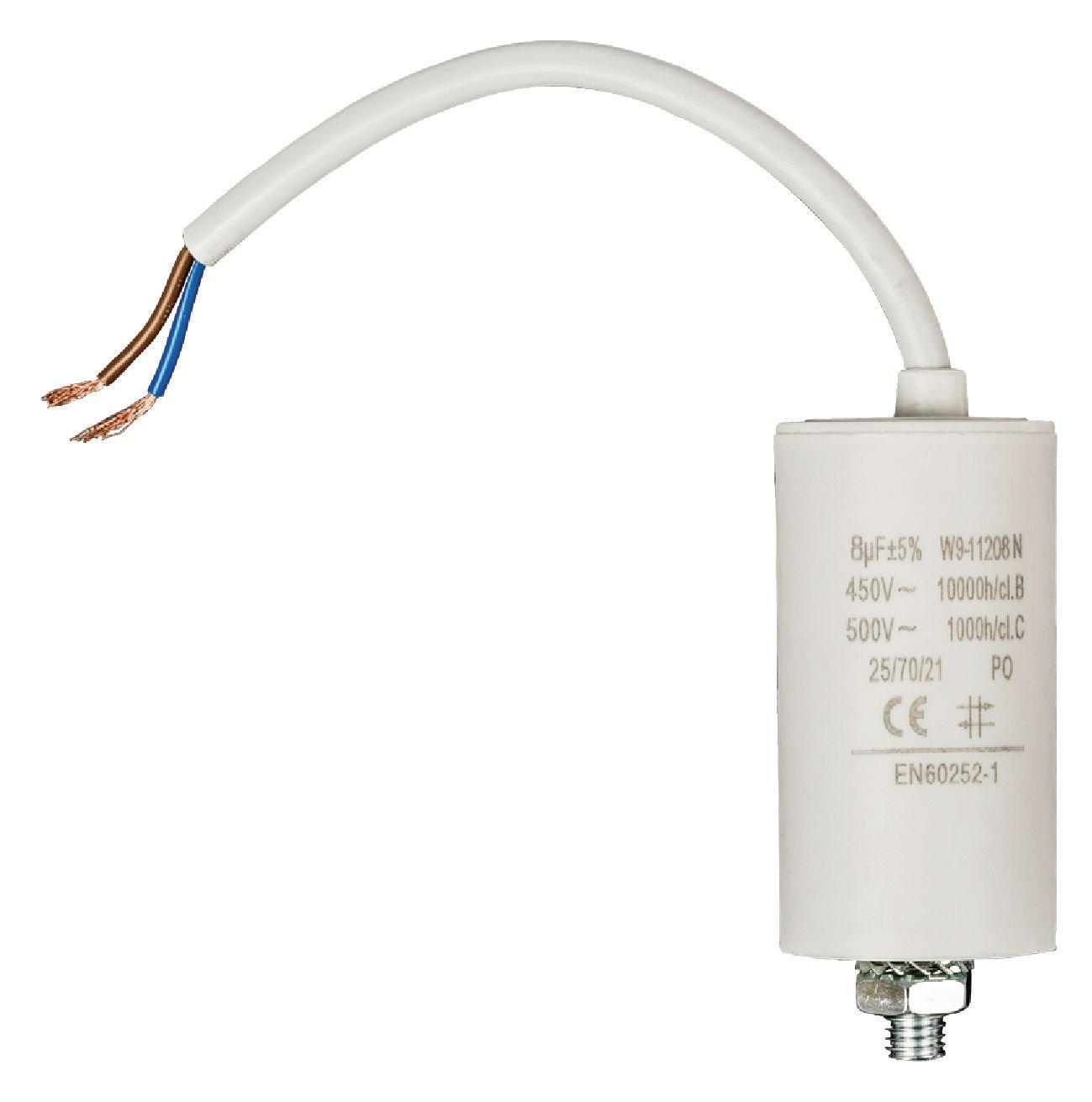 //-5/% 450V CONDENSATEUR MOTEUR ELECTRIQUE 8 /µF 8uF CABLE NORME EN60252 NEUF