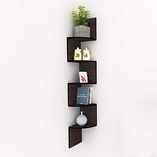 Kemanner 5-Tier Corner Wall Shelf Zig Zag Hanging Wall Floating Shelves for Photo Albums Book Display Espresso