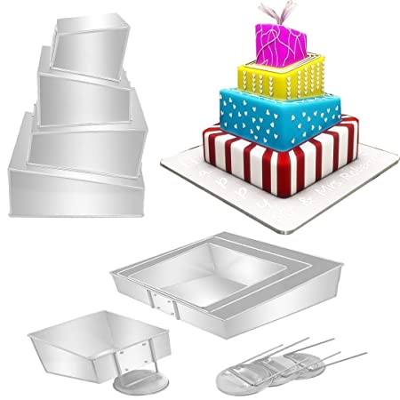Mini Topsy Turvy 4 Tier Square Cake Pans Tins New Design By EuroTins 57911 Amazoncouk Kitchen Home